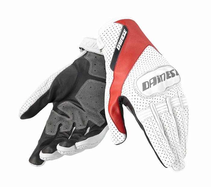 Dainese leather motorcycle glove Essential White Red Black