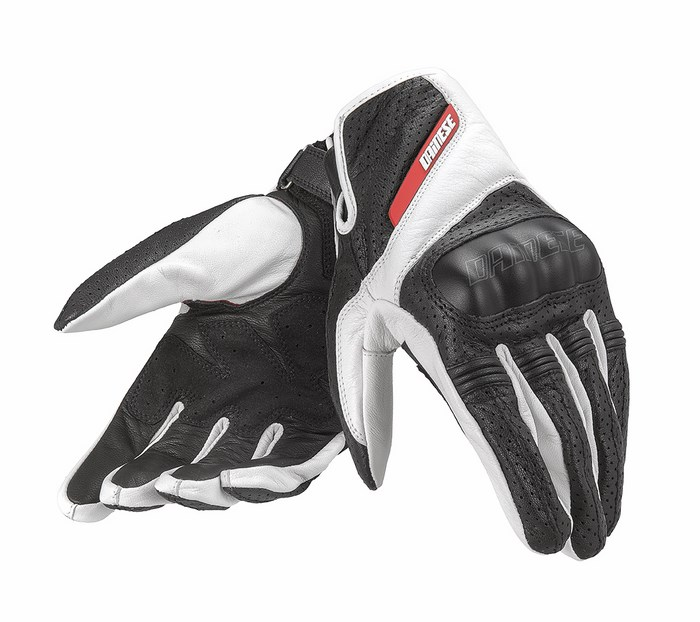 Dainese leather motorcycle glove Essential Black White