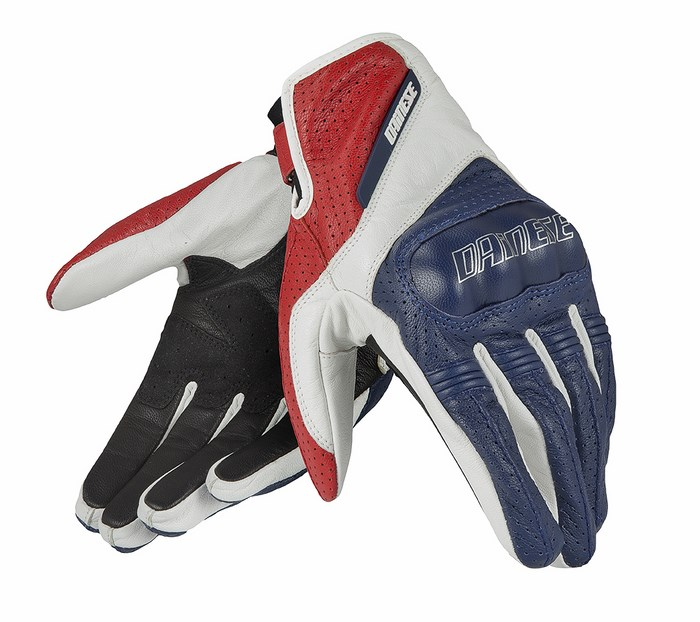 Dainese leather motorcycle glove Essential Blue White Red