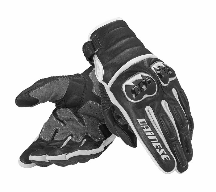 Motorcycle Gloves Dainese leather Frazer Black White