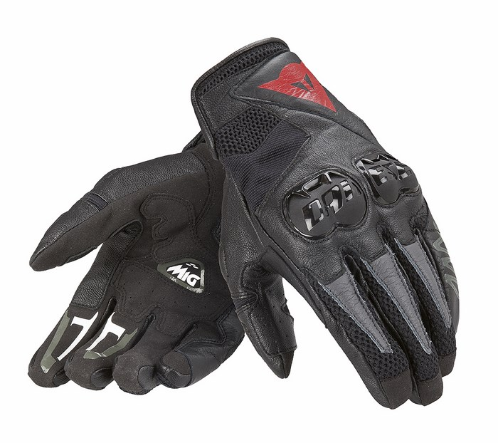 Black Leather Motorcycle Gloves Dainese Mig