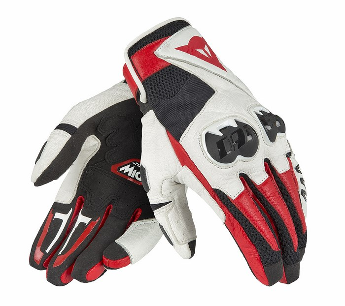 Leather Motorcycle Gloves Dainese Mig Black White Red