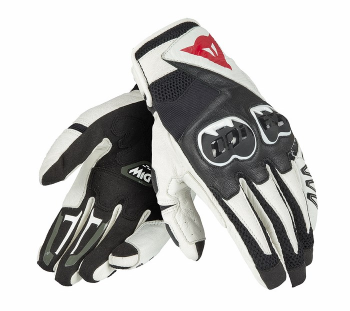 Leather Motorcycle Gloves Dainese Mig Black White