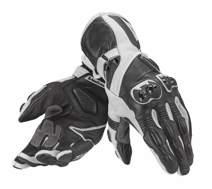 Leather Motorcycle Gloves Dainese Fast Black White
