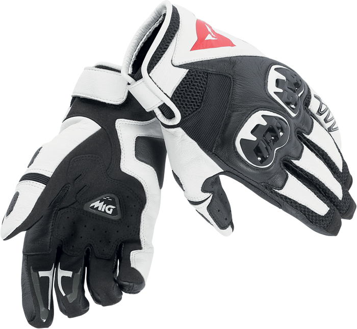 Dainese Mig C2 leather summer gloves Black White