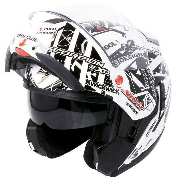 Scorpion Exo 900 Air Signal flip off helmet White