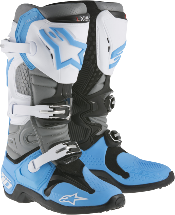 Alpinestars Tech 10 cross boots White Grey Cyan