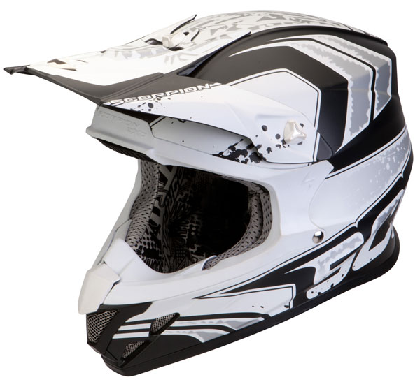 Casco cross Scorpion VX 20 Air Quartz Nero Bianco Opaco