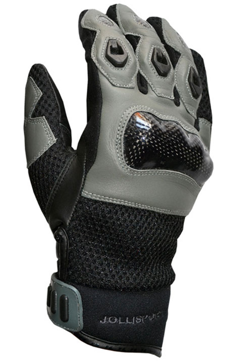 Summer motorcycle gloves leather black gray Jollisport Manta