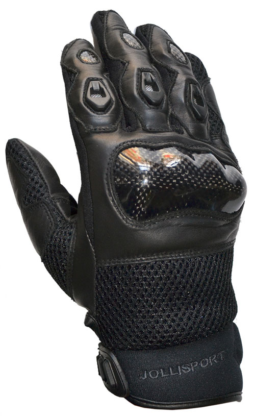 Summer Motorcycle Gloves Leather Black Manta Jollisport