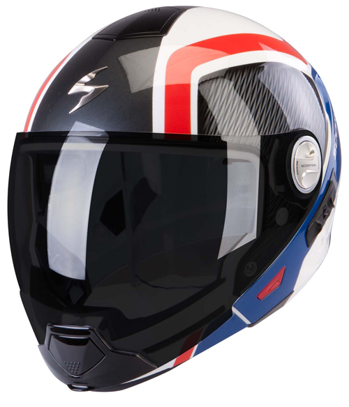 Scorpion Exo 300 Air Grid flip off helmet White Blue Red
