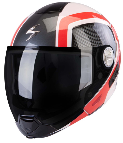 Scorpion Exo 300 Air Grid flip off helmet White Red Black