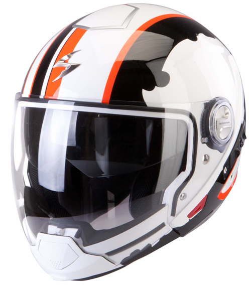 Scorpion Exo 300 Air Gunner flip off helmet White Black Orange
