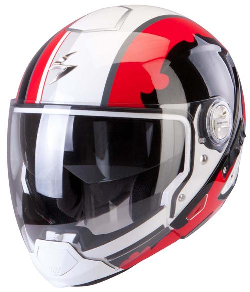 Casco modulare Scorpion Exo 300 Air Gunner Bianco Rosso Nero