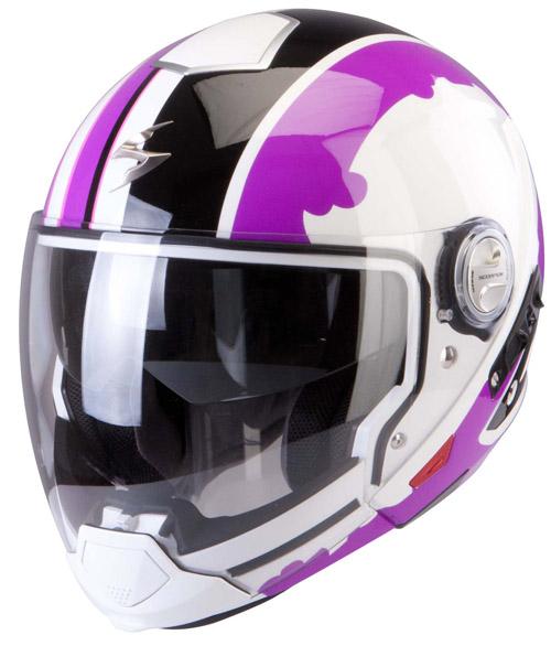 Scorpion Exo 300 Air Gunner flip off helmet White Purple Black