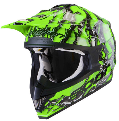 Scorpion VX 15 Air Oil off road helmet Neon Green Black