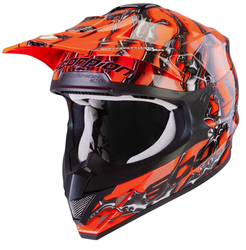 Casco cross Scorpion VX 15 Air Oil Arancio Neon Nero