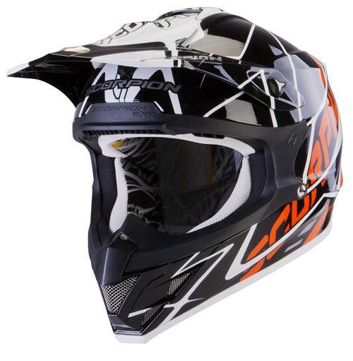 Scorpion VX 15 Air Sprint off road helmet Black White Orange