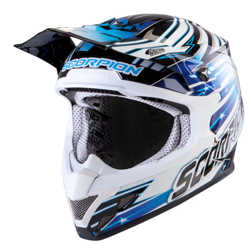 Scorpion VX 20 Air StarTrooper off road helmet Black White Blue