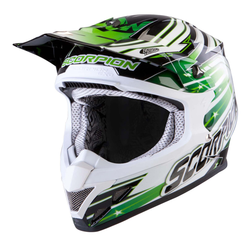 Casco cross Scorpion VX 20 Air StarTrooper Nero Bianco Verde