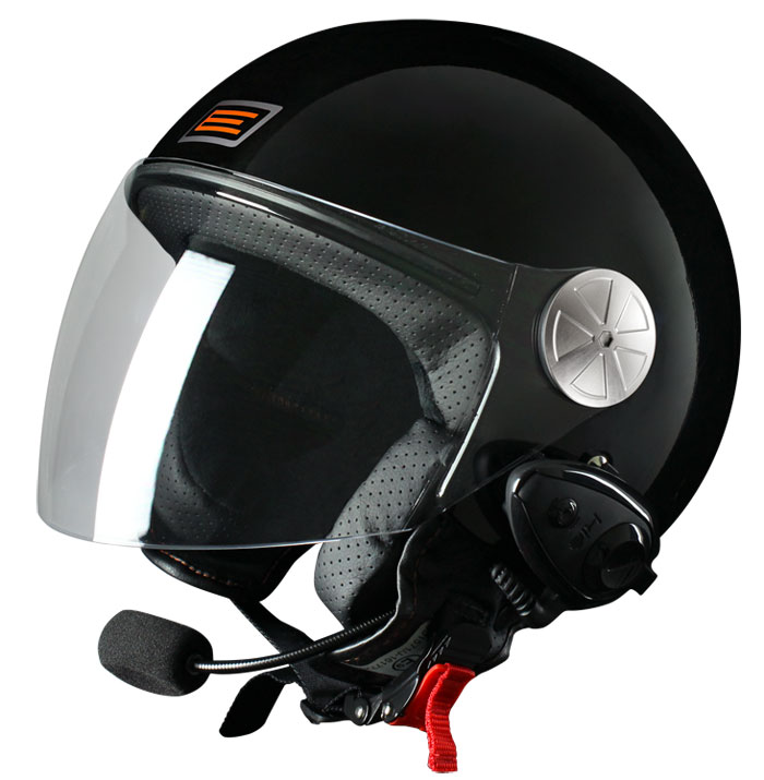 Casco jet Origine Pronto con interfono Kiè Nero