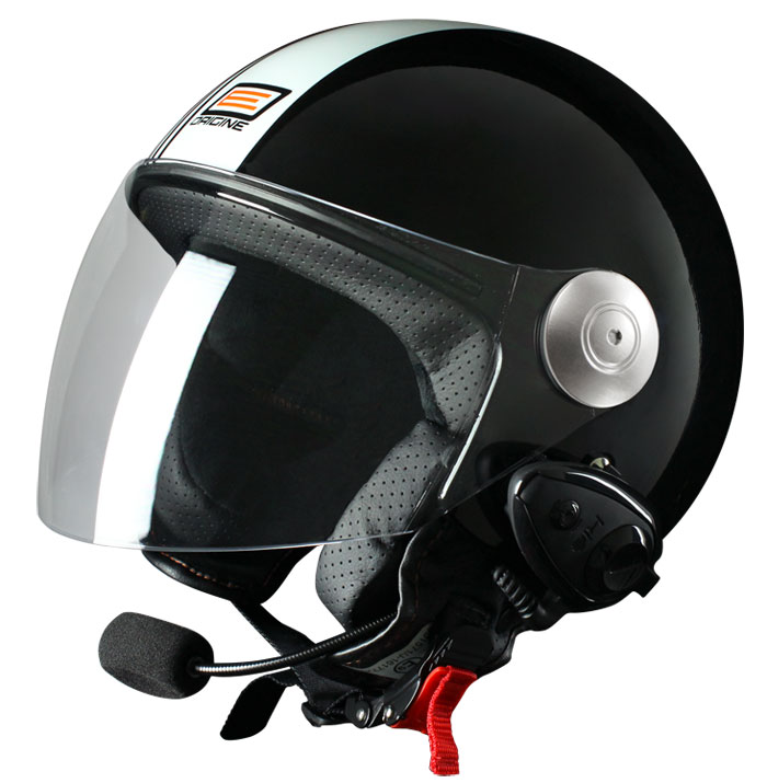 Casco jet Origine Pronto Tony con interfono Kiè Nero Bianco