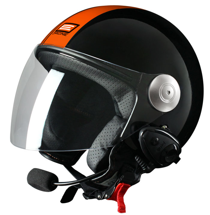 Casco jet Origine Pronto Tony con interfono Kiè Nero Arancio