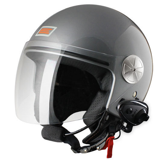 Origine Pronto jet helmet with intercom KIE Silver