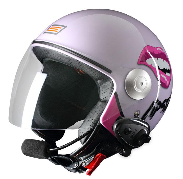 Origine Pronto Lipstick jet helmet with intercom Kiè Lilac