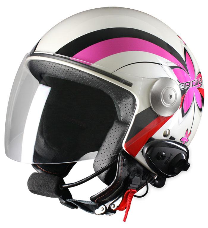 Origine Pronto Flower jet helmet with intercom Kiè White