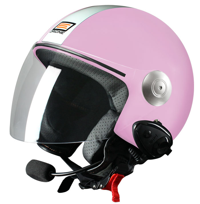 Casco jet Origine Pronto Tony con interfono Kiè Rosa