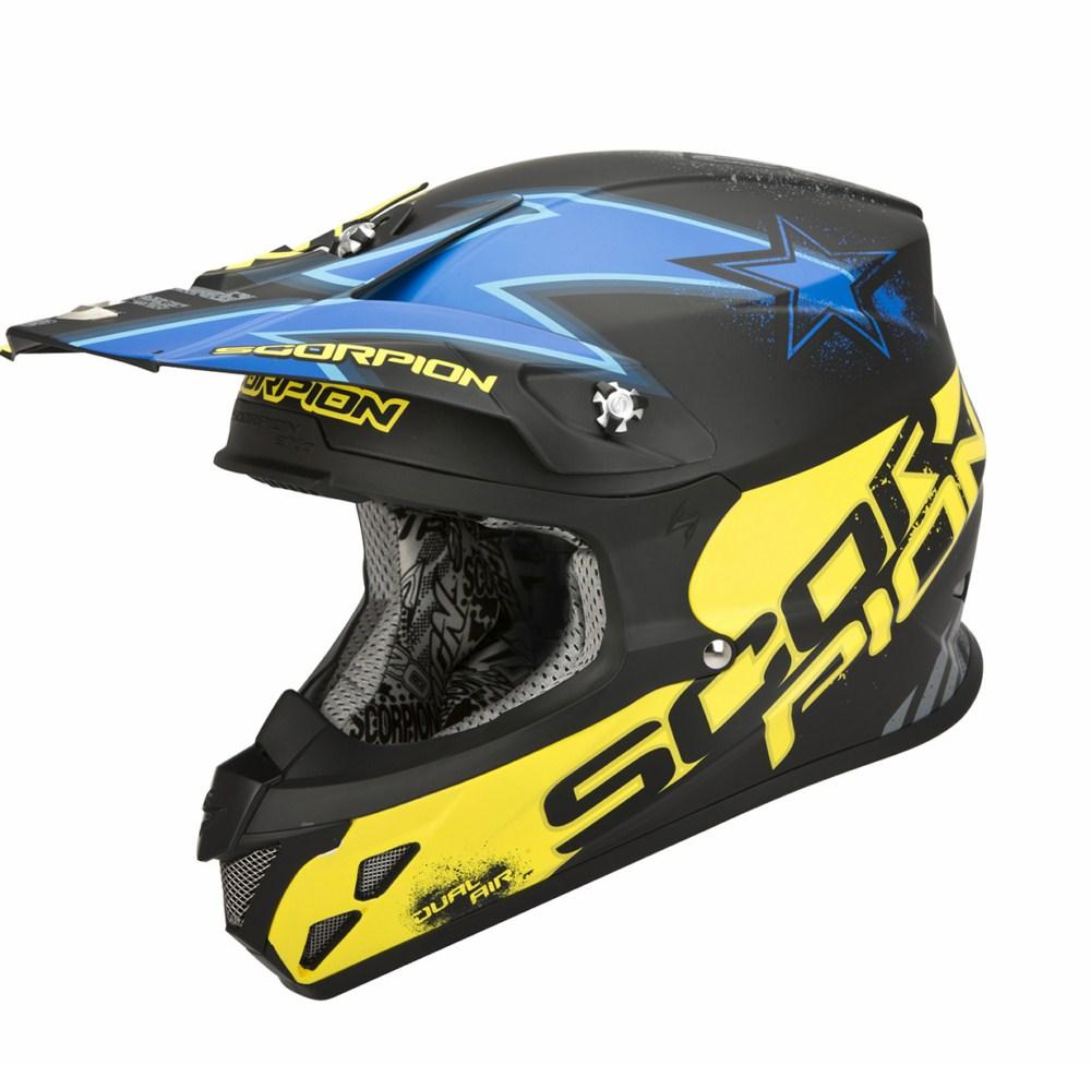 Scorpion VX 20 Air Magnus cross helmet black blue yellow