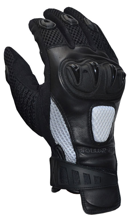 Summer motorcycle gloves black white Jollisport Spock