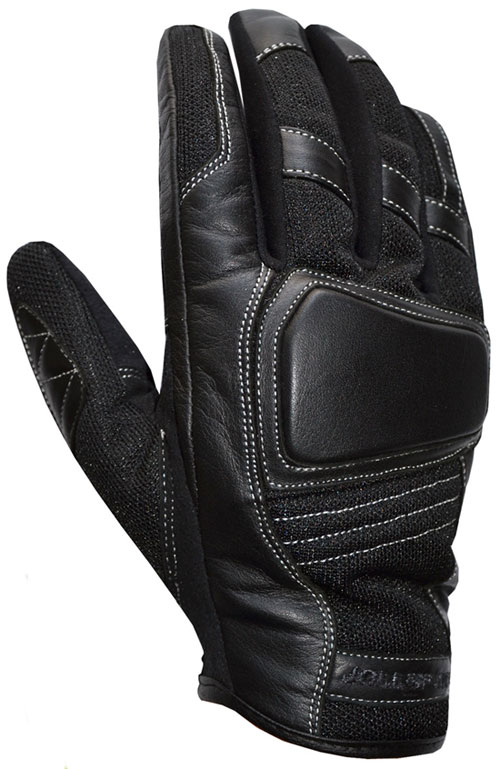 Summer motorcycle gloves leather black Jollisport Flash