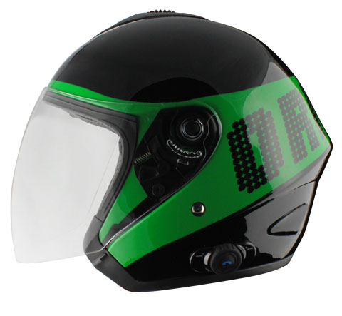 Origin Tornado jet helmet with intercom Disco Blink G2 Green