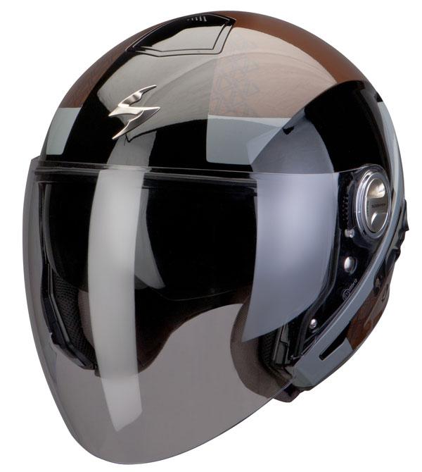Scorpion Exo 210 helmet Biron Brown Black Grey