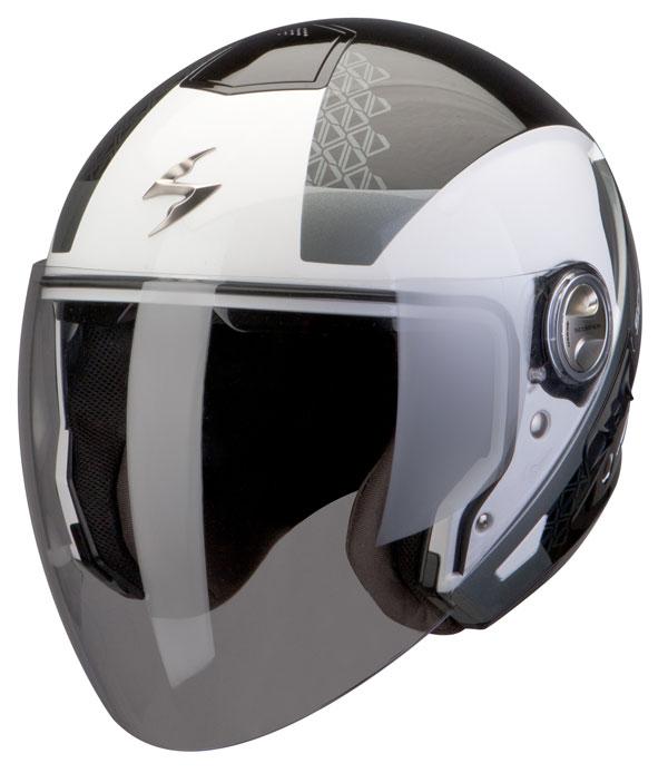 Scorpion Exo 210 helmet Biron Black White Silver