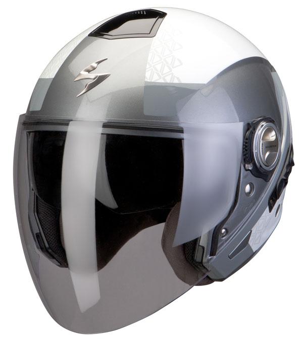 Scorpion Exo 210 helmet Biron White Silver Grey