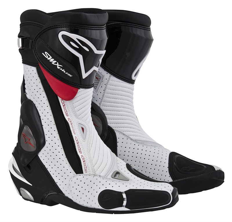 Stivali moto Alpinestars S-MX Plus nero-bianco-rossi vented