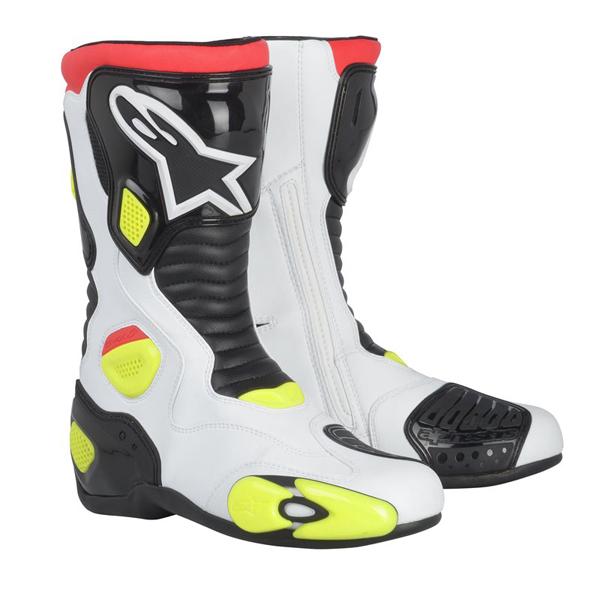 Stivali moto racing Alpinestars S-MX 5 bianco-nero-giallo fluo
