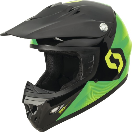 Casco cross bambino Scott 250 Kids Fission ECE Verde Nero