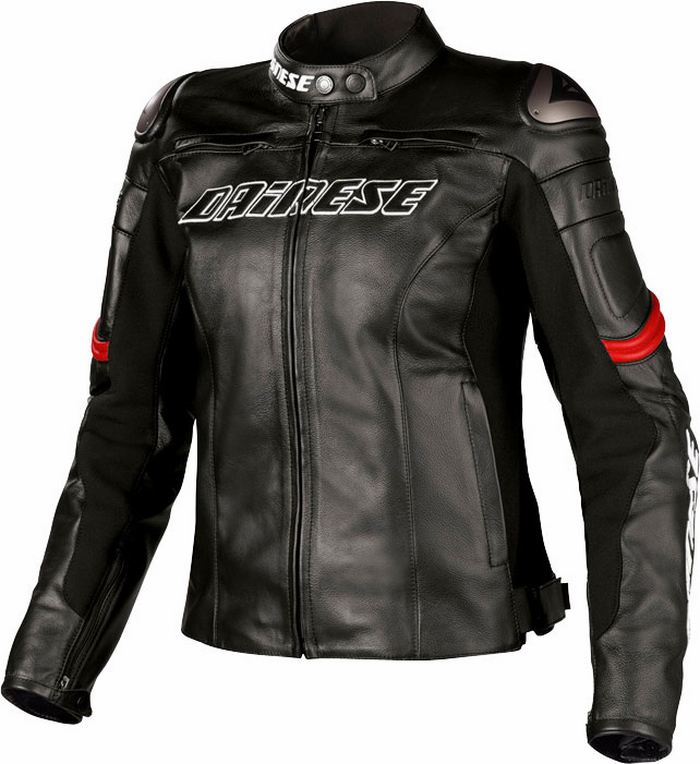 Giacca moto donna pelle Dainese Racing Lady Nero Rosso