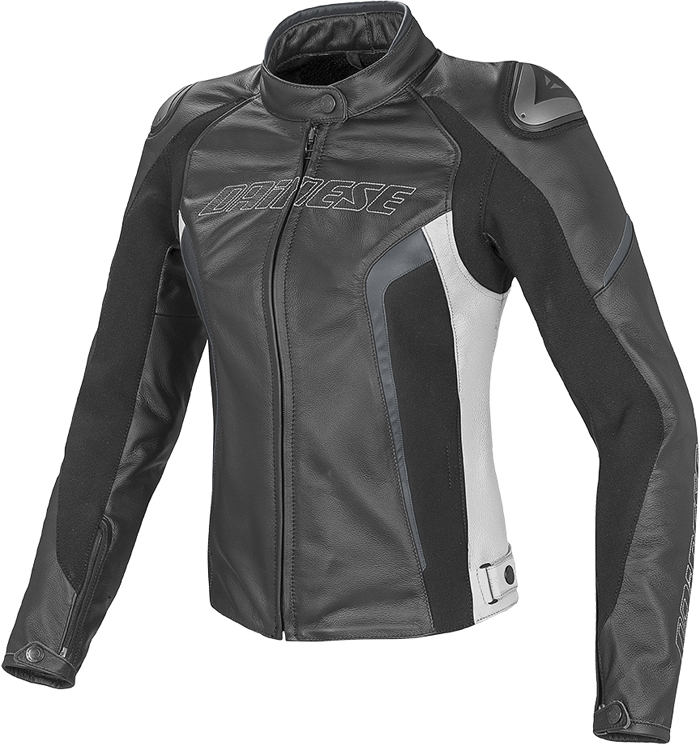 Dainese Racing D1 woman leather jacket Black White Anthracite