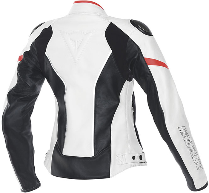 Dainese Racing D1 woman leather jacket White Black Red