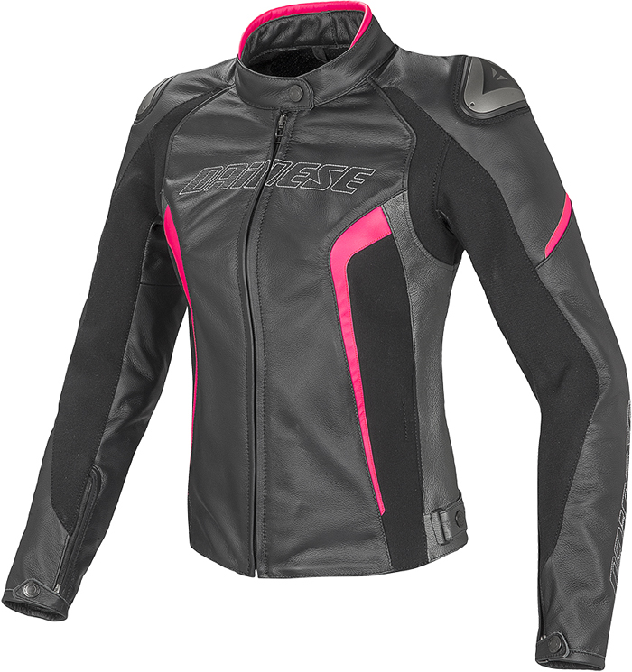 Giacca moto donna pelle Dainese Racing D1 Nero Antracite Fuxia