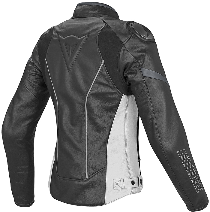 Giacca moto donna pelle estiva Dainese Racing D1 Nero Bianco Ant