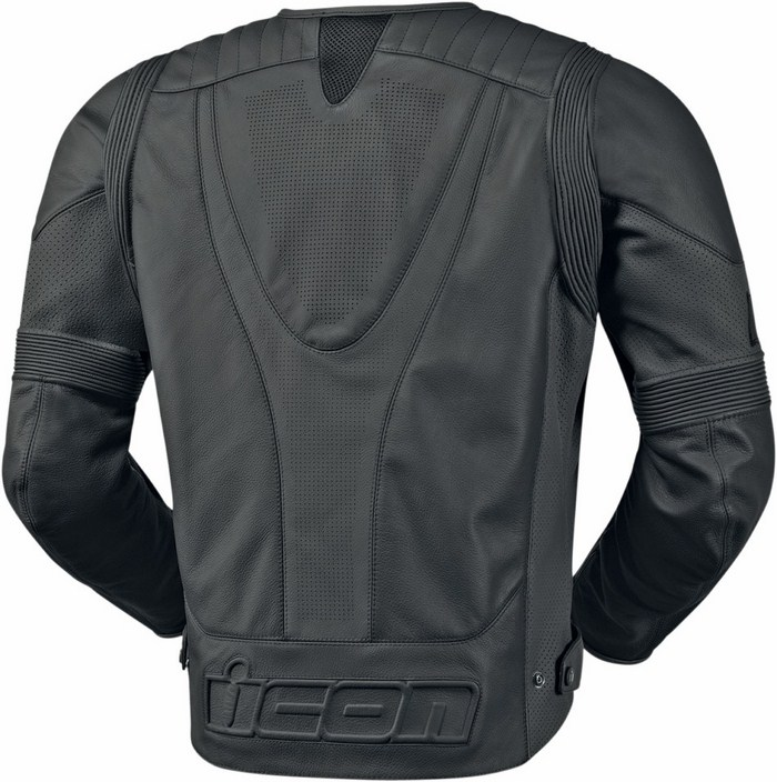 Icon Overlord summer leather motorcycle jacket Black