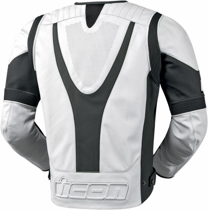Icon Overlord Leather Motorcycle Jacket Summer White