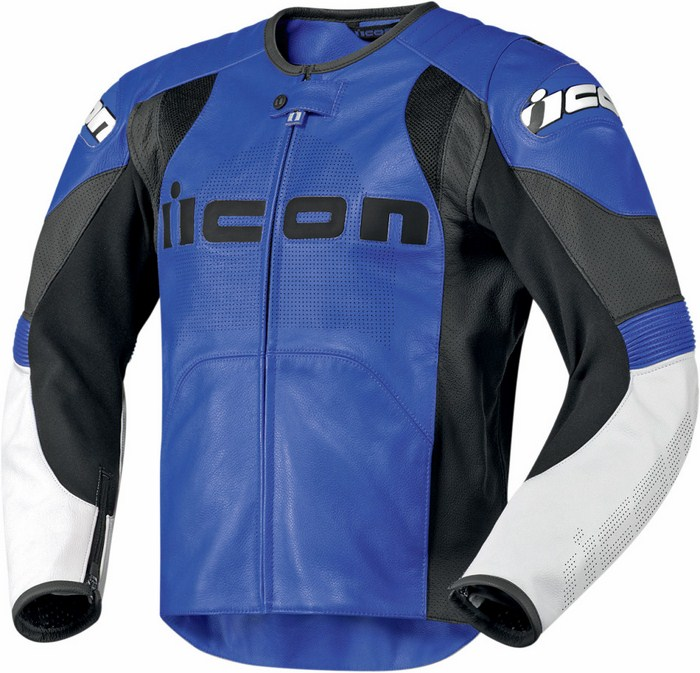 Leather motorcycle jacket summer Icon Overlord Prime Blue