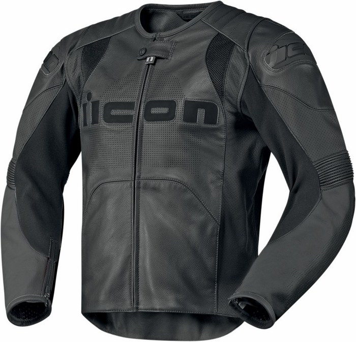 Leather motorcycle jacket summer Icon Overlord Prime Black